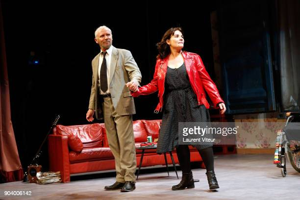 Actor Geoffroy Thiebaut and Actress Christine Citti perform during 'Nenesse' Paris Premiere at Theatre Dejazet on January 9 2018 in Paris France