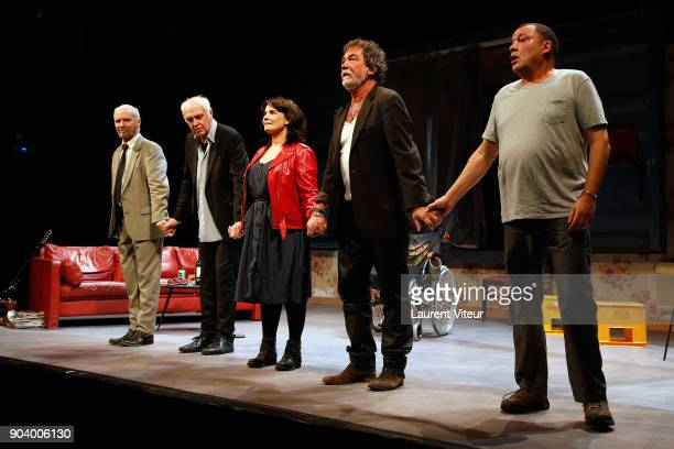 Actor Geoffroy Thiebaut Director JeanLouis Martinelli Actress Christine Citti Actor Olivier Marchal and Actor Hammou Graia perform during 'Nenesse'...