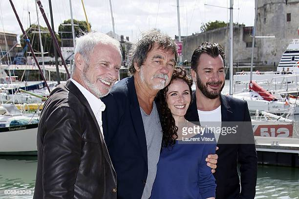 Actor Geoffroy Thiebaut, Director Olivier Marchal, Actress Elsa Lunghini and Actor Michael Youn attend the 'Mon Frere Bien Aime' Photocall during the...