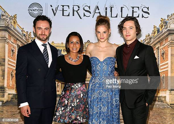 Actor George Blagden Liz Janneman EVP Network Strategy Ovation TV actress Noemie Schmidt and actor Alexander Vlahos attend the premiere of Ovation...