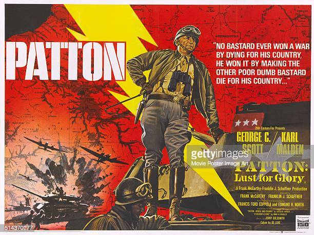 Actor George C Scott appears in the title role on the poster for the movie biopic 'Patton' about American general George S Patton 1970
