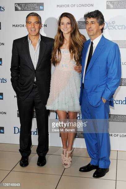Actor George Clooney actress Shailene Woodley and director Alexander Payne arrive at the Premiere of 'The Descendants' during the 55th BFI London...