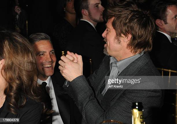 Actor George Clooney and Actor Brad Pitt onstage at the 13th ANNUAL CRITICS' CHOICE AWARDS at the Santa Monica Civic Auditorium on January 7 2008 in...