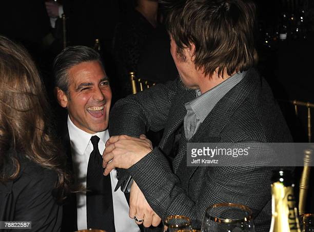Actor George Clooney and Actor Brad Pitt onstage at the 13th ANNUAL CRITICS' CHOICE AWARDS at the Santa Monica Civic Auditorium on January 7, 2008 in...