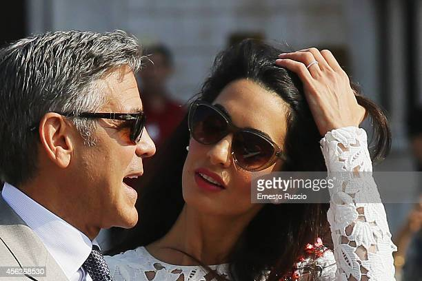 Actor George Clooney and Amal Alamuddin sighting at Canal Grande on September 28 2014 in Venice Italy