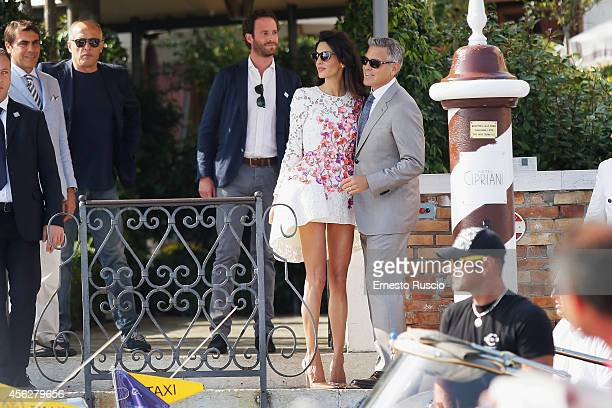 Actor George Clooney and Amal Alamuddin sighting at Hotel Cipriani September 28, 2014 in Venice, Italy.