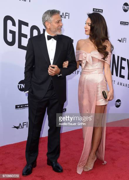 Actor George Clooney and Amal Clooney arrive at the American Film Institute's 46th Life Achievement Award Gala Tribute to George Clooney on June 7...