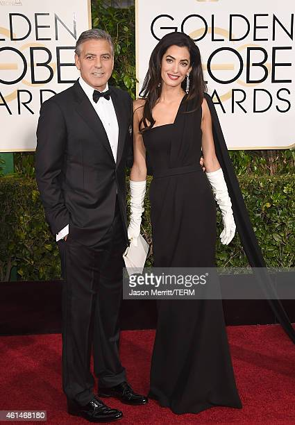 Actor George Clooney and Amal Clooney attend the 72nd Annual Golden Globe Awards at The Beverly Hilton Hotel on January 11 2015 in Beverly Hills...
