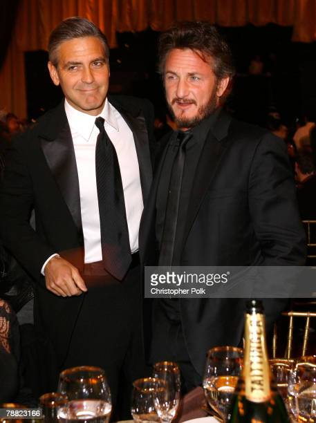 Actor George Clooney and Director/Actor Sean Penn inside at the 13th ANNUAL CRITICS' CHOICE AWARDS at the Santa Monica Civic Auditorium on January 7,...