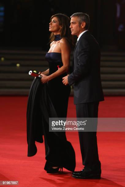 Actor George Clooney and Elisabetta Canalis attend the 'Up In The Air' Premiere during day 3 of the 4th Rome International Film Festival held at the...