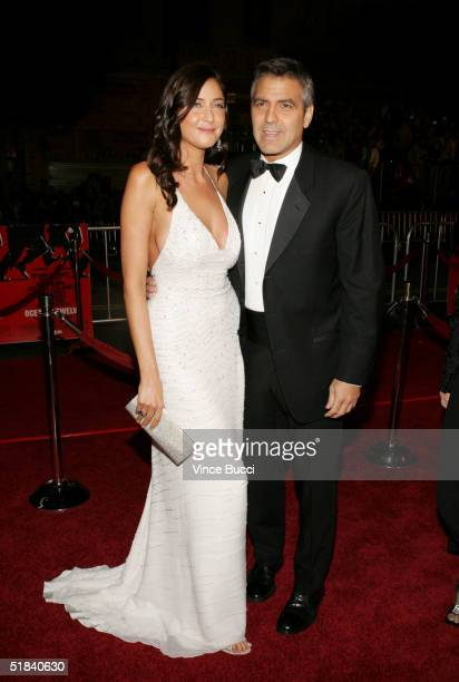 Actor George Clooney and girlfriend model Lisa Snowdon arrive at the Warner Bros premiere of the film Ocean's Twelve at Grauman's Chinese Theatre...