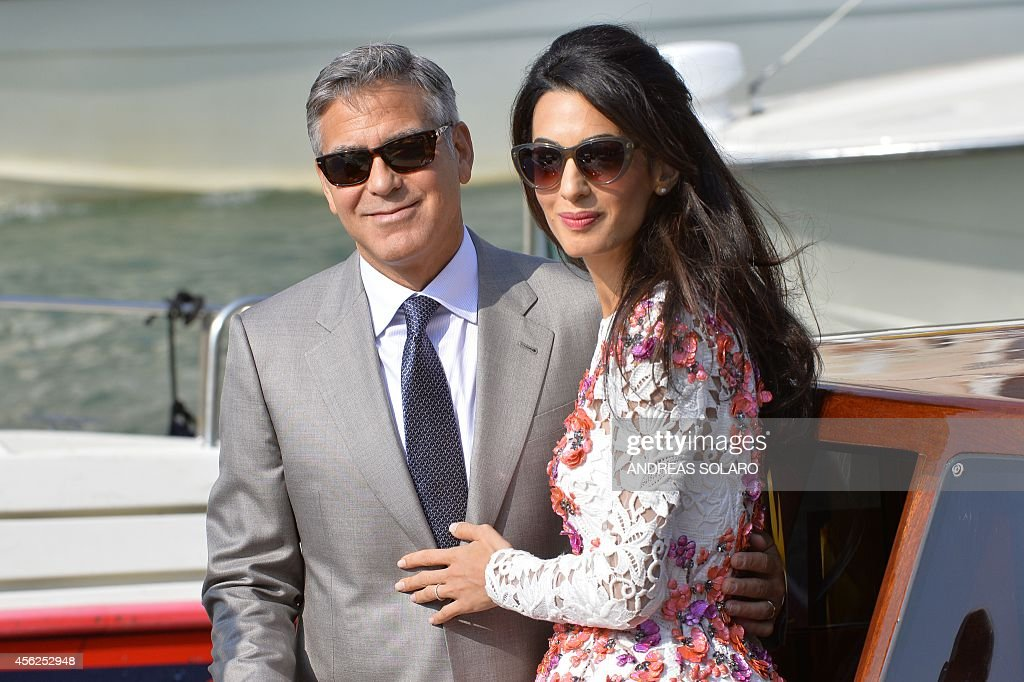 ITALY-US-BRITAIN-PEOPLE-WEDDING-CLOONEY : News Photo
