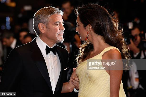 Actor George Clooney and his wife Amal Clooney attend the 'Money Monster' premiere during the 69th annual Cannes Film Festival at the Palais des...
