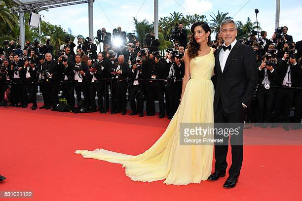 Actor George Clooney and his wife Amal Clooney attend the screening of 'Money Monster' at the annual 69th Cannes Film Festival at Palais des...