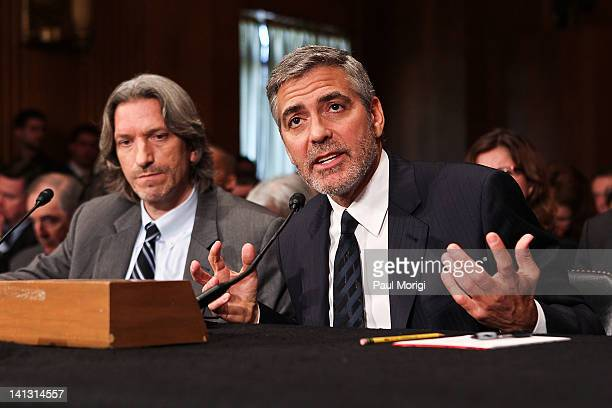 Actor George Clooney and John Prendergast cofounder of the Satellite Sentinel Project testify at the Senate Foreign Relations Sudan and South Sudan...