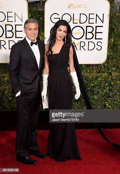 Actor George Clooney and lawyer Amal Alamuddin Clooney attend the 72nd Annual Golden Globe Awards at The Beverly Hilton Hotel on January 11 2015 in...
