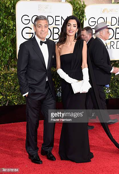 Actor George Clooney and lawyer Amal Alamuddin Clooney attend the 72nd Annual Golden Globe Awards at The Beverly Hilton Hotel on January 11, 2015 in...
