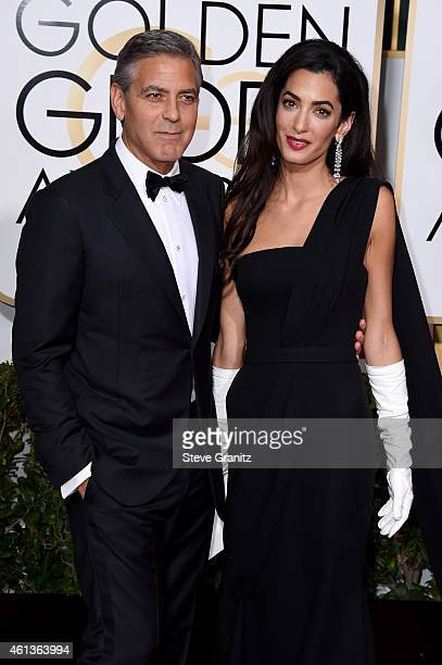 Actor George Clooney and lawyer Amal Alamuddin Clooney attends the 72nd Annual Golden Globe Awards at The Beverly Hilton Hotel on January 11, 2015 in...
