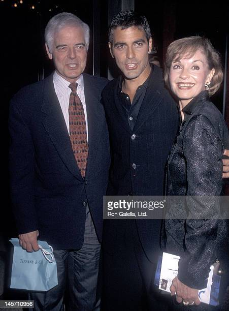 Actor George Clooney and parents Nick Clooney and Nina Warren attend The Peacemaker New York City Premiere on September 22 1997 at the Ziegfeld...