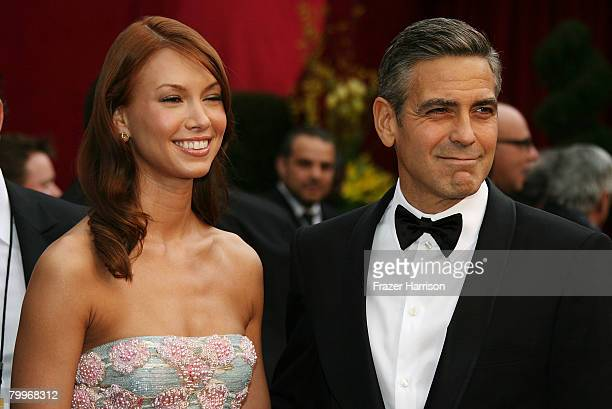 Actor George Clooney and Sarah Larson arrives at the 80th Annual Academy Awards held at the Kodak Theatre on February 24, 2008 in Hollywood,...
