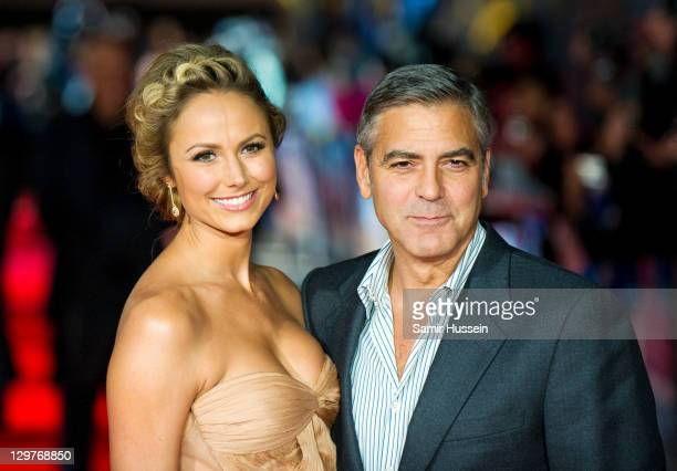 Actor George Clooney and Stacy Keibler attend 'The Descendants' premiere during the 55th BFI London Film Festival at Odeon Leicester Square on...