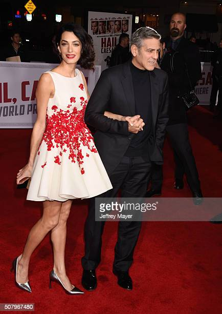 Actor George Clooney and wife Amal Clooney arrive at the Premiere Of Universal Pictures' 'Hail Caesar' at Regency Village Theatre on February 1 2016...