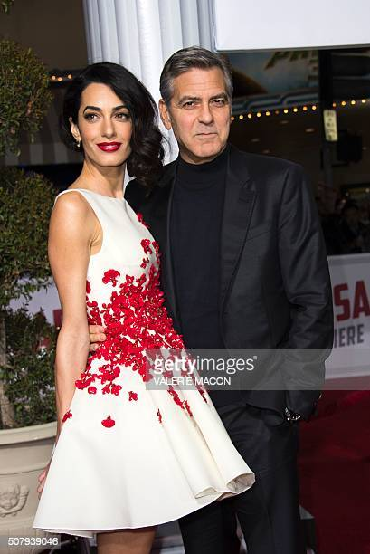 Actor George Clooney and Wife Amal Clooney arrive at The Universal Premiere of Hail Caesar at the Regency Village Theatre in Westwood California...