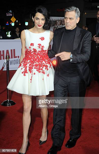 Actor George Clooney and wife Amal Clooney arrive for the Premiere Of Universal Pictures' Hail Caesar held at Regency Village Theatre on February 1...