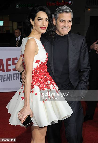 Actor George Clooney and wife Amal Clooney arrive for the Premiere Of Universal Pictures' 'Hail Caesar' held at Regency Village Theatre on February 1...