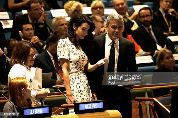 Actor George Clooney and wife human rights lawyer Amal Clooney attend a Leaders Summit for Refugees during the United Nations 71st session of the...