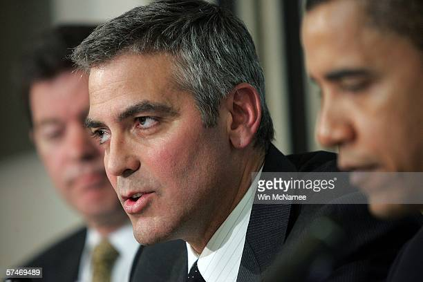 Actor George Clooney answers a question during The National Press Club Newsmaker's Program April 27, 2006 in Washington, DC. Clooney joined Sen. Sam...