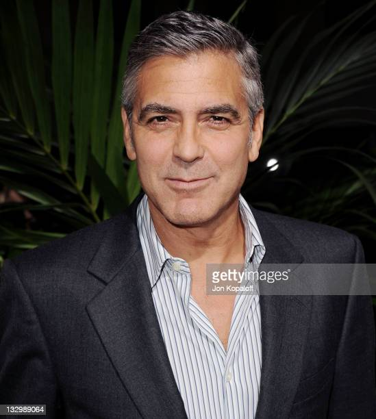 Actor George Clooney arrives at the Los Angeles Premiere 'The Descendants' at AMPAS Samuel Goldwyn Theater on November 15 2011 in Beverly Hills...