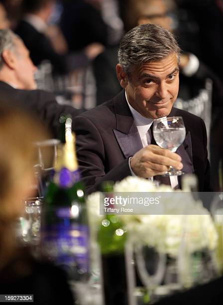 Actor George Clooney attends the Critics' Choice Movie Awards 2013 with Champagne Nicolas Feuillatte at Barkar Hangar on January 10 2013 in Santa...