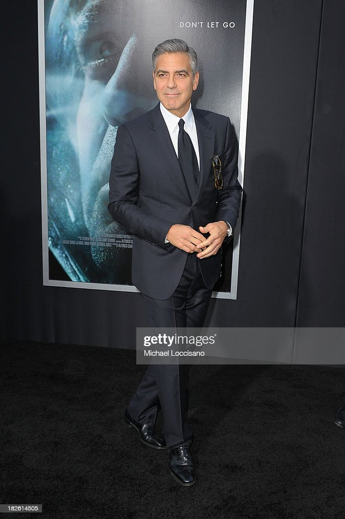 Actor George Clooney attends the 'Gravity' premiere at AMC Lincoln Square Theater on October 1, 2013 in New York City.