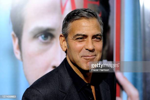 Actor George Clooney attends the Premiere of Columbia Pictures' 'The Ides Of March' held at the Academy of Motion Picture Arts and Sciences' Samuel...