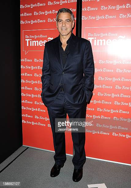 Actor George Clooney attends the West Coast TimesTalks at SilverScreen Theater at the Pacific Design Center on February 8 2012 in West Hollywood...