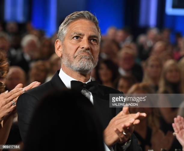 US actor George Clooney claps during the 46th American Film Institute Life Achievement Award Gala at the Dolby Theatre in Hollywood on June 7 2018...