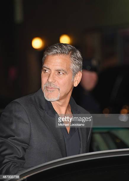 Actor George Clooney departs the first taping of 'The Late Show With Stephen Colbert' on September 8 2015 in New York City