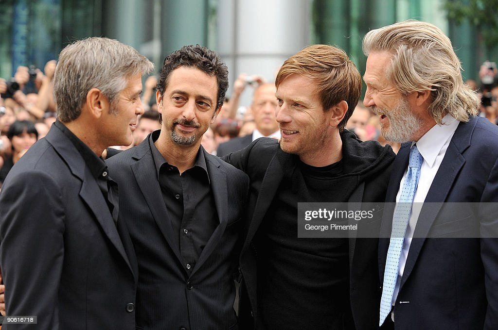 Actor George Clooney (L), director Grant Heslov, actor Ewan McGregor, and actor Jeff Bridges arrive at the 'The Men Who Stare At Goats' Premiere held at Roy Thomson Hall during the 2009 Toronto International Film Festival on September 11, 2009 in Toronto, Canada.