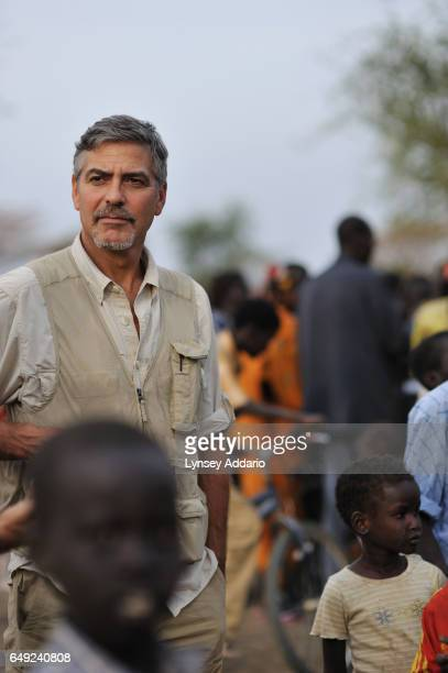 Actor George Clooney is seen in a camp for South Sudanese returnees from North Sudan anticipating the referendum to separate North and South Sudan in...