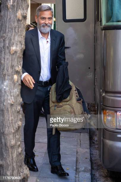 Actor George Clooney is seen leaving the set filming of 'Nespresso' TV spot on September 24 2019 in Madrid Spain