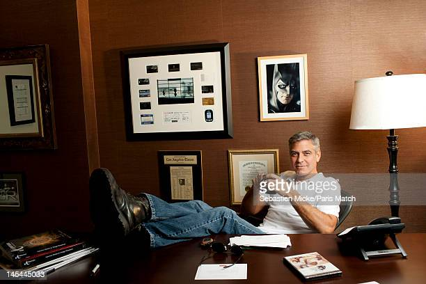 Actor George Clooney photographed at his production company offices, Smokehouse Pictures, for Paris Match on October 3, 2011 in Studio City,...