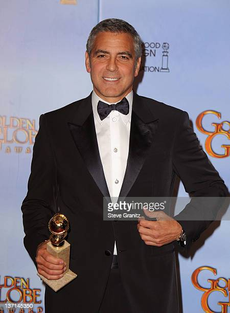 Actor George Clooney poses in the press room at the 69th Annual Golden Globe Awards held at the Beverly Hilton Hotel on January 15 2012 in Beverly...