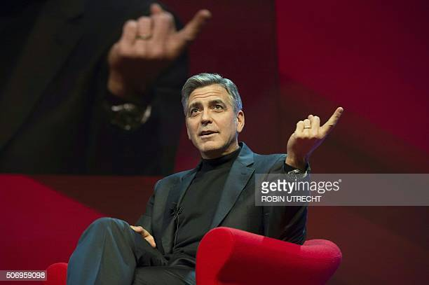 US actor George Clooney speaks at the Goed Geld Gala charity event at the Carre Theatre in Amsterdam on January 26 2016 OUT == / AFP / ANP / Robin...