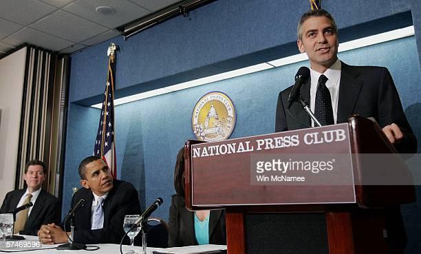 Actor George Clooney speaks at The National Press Club Newsmaker's Program April 27, 2006 in Washington, DC. Clooney joined Sen. Sam Brownback and...