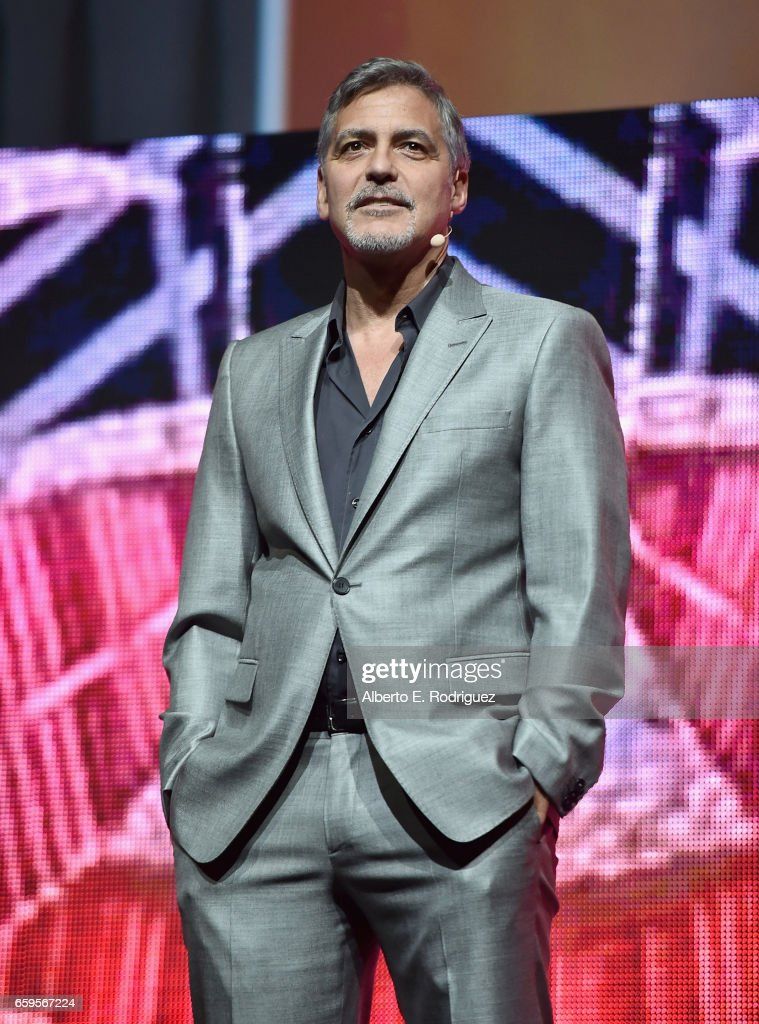 Actor George Clooney speaks onstage at CinemaCon 2017 Paramount Pictures Presentation Highlighting Its Summer of 2017 and Beyond at The Colosseum at Caesars Palace during CinemaCon, the official convention of the National Association of Theatre Owners, on March 28, 2017 in Las Vegas, Nevada.
