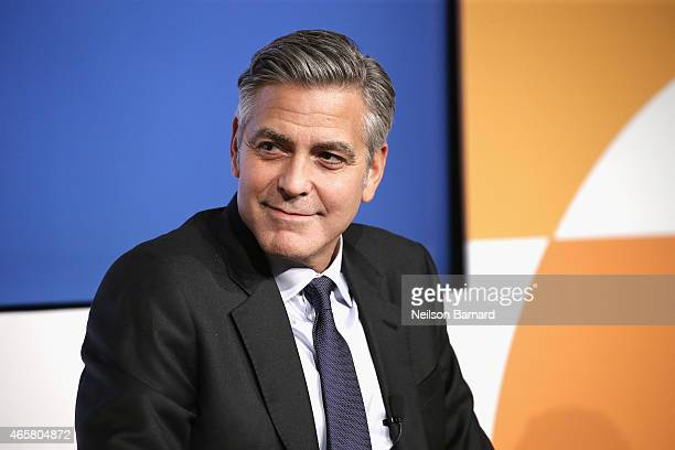 Actor George Clooney speaks onstage at The 100 LIVES initiative to express gratitude to the individuals and institutions whose heroic actions saved...