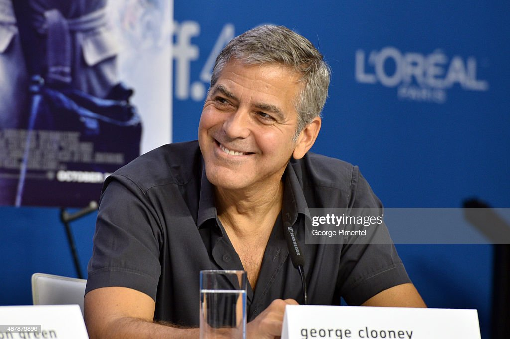 Actor George Clooney speaks onstage during the 'Our Brand Is Crisis' press conference at the 2015 Toronto International Film Festival at TIFF Bell Lightbox on September 12, 2015 in Toronto, Canada.