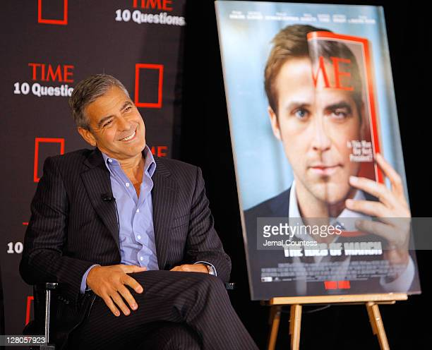 Actor George Clooney speaks with Time magazine's managing editor Rick Stengel during TIME Live 10 Questions With George Clooney at TIME Building on...