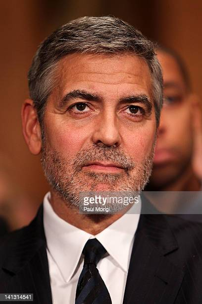Actor George Clooney testifies at the Senate Foreign Relations Sudan and South Sudan Independence and Insecurity hearing at the Dirksen Senate Office...